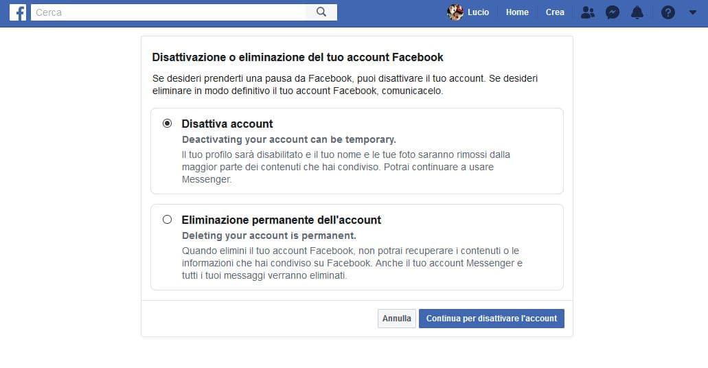 Disattiva Facebook