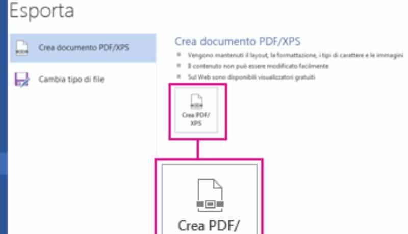 Come trasformare un file Word in PDF, in office