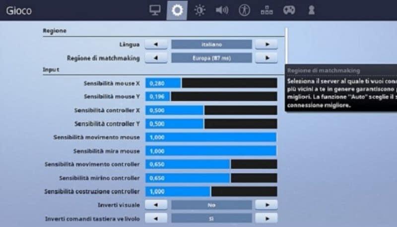 Come cambiare lingua su Fortnite, Impostazioni Lingua